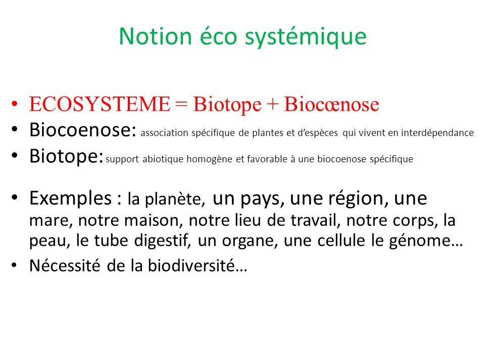 Notion éco systémique ECOSYSTEME = Biotope + Biocœnose Biocoenose: association spécifique de plantes et despèces qui vivent en interdépendance Biotope: support abiotique homogène et favorable à une biocoenose spécifique Exemples : la planète, un pays, une région, une mare, notre maison, notre lieu de travail, notre corps, la peau, le tube digestif, un organe, une cellule le génome… Nécessité de la biodiversité…