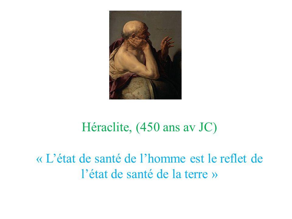 Héraclite, (450 ans av JC) « Létat de santé de lhomme est le reflet de létat de santé de la terre »