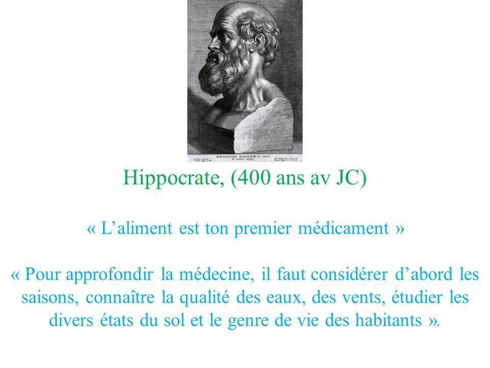Hippocrate, (400 ans av JC) « Laliment est ton premier médicament » « Pour approfondir la médecine, il faut considérer dabord les saisons, connaître la qualité des eaux, des vents, étudier les divers états du sol et le genre de vie des habitants ».