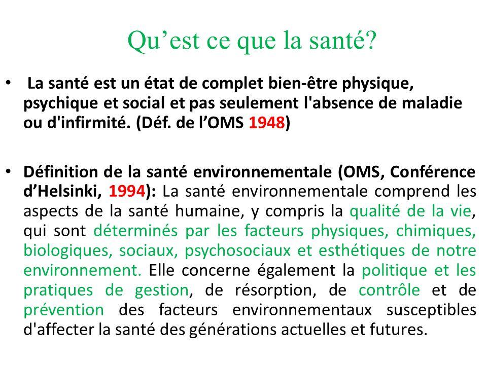 La santé environnementale Charte de lEnvironnement promulguée le 28 février 2005 sous forme de loi constitutionnelle, laquelle énonce dans son article premier que « chacun a le droit de vivre dans un environnement équilibré et favorable à sa santé ».