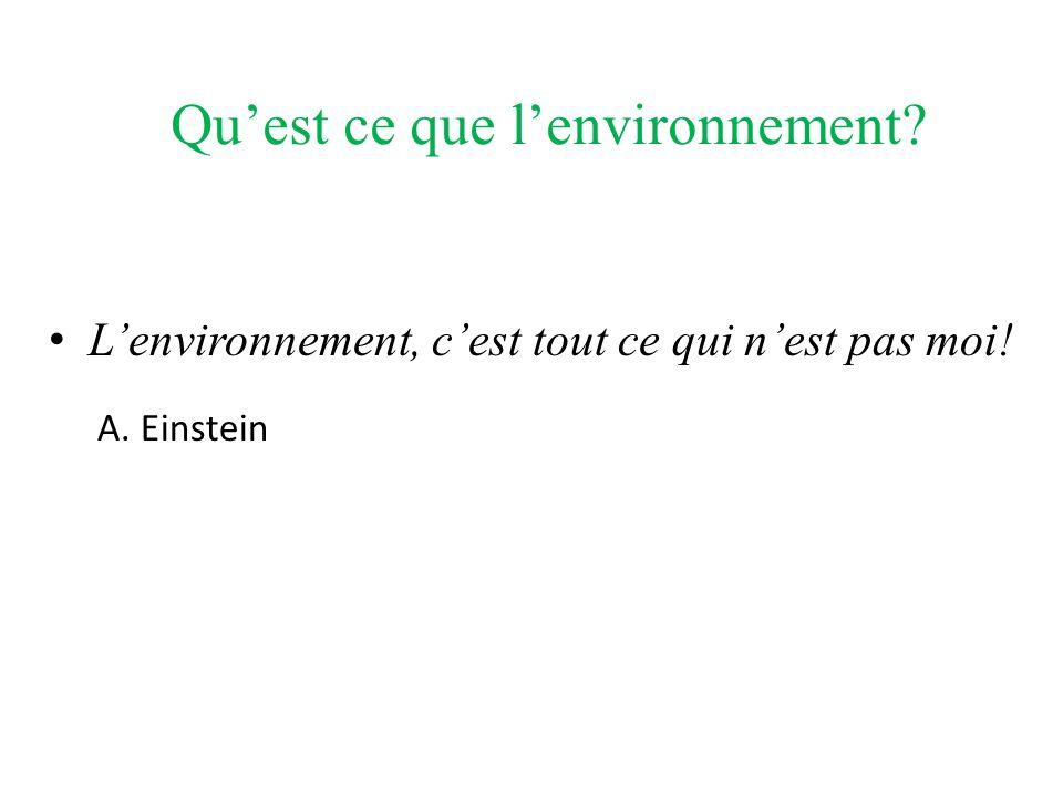 Quest ce que lenvironnement? Lenvironnement, cest tout ce qui nest pas moi! A. Einstein