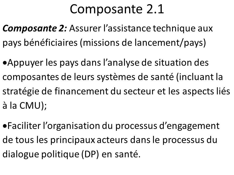 Composante 2.1 Composante 2: Assurer lassistance technique aux pays bénéficiaires (missions de lancement/pays) Appuyer les pays dans lanalyse de situa