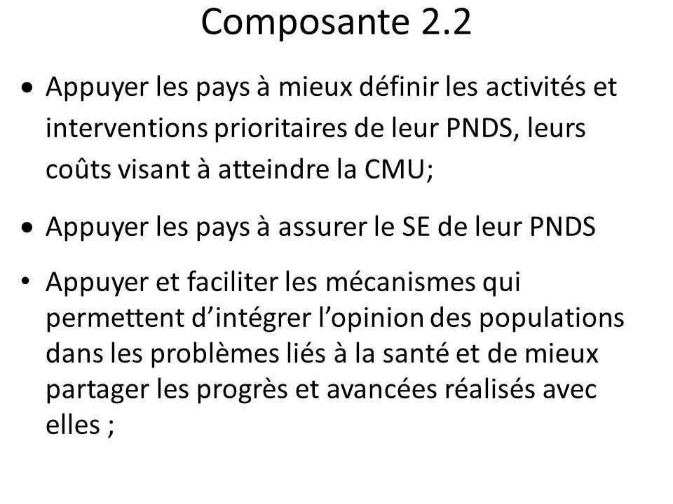 Composante 2.2 Appuyer les pays à mieux définir les activités et interventions prioritaires de leur PNDS, leurs coûts visant à atteindre la CMU; Appuy