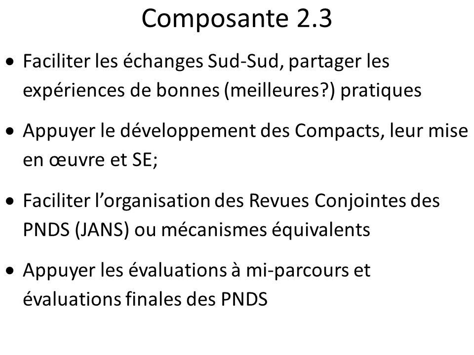 Composante 2.3 Faciliter les échanges Sud-Sud, partager les expériences de bonnes (meilleures?) pratiques Appuyer le développement des Compacts, leur