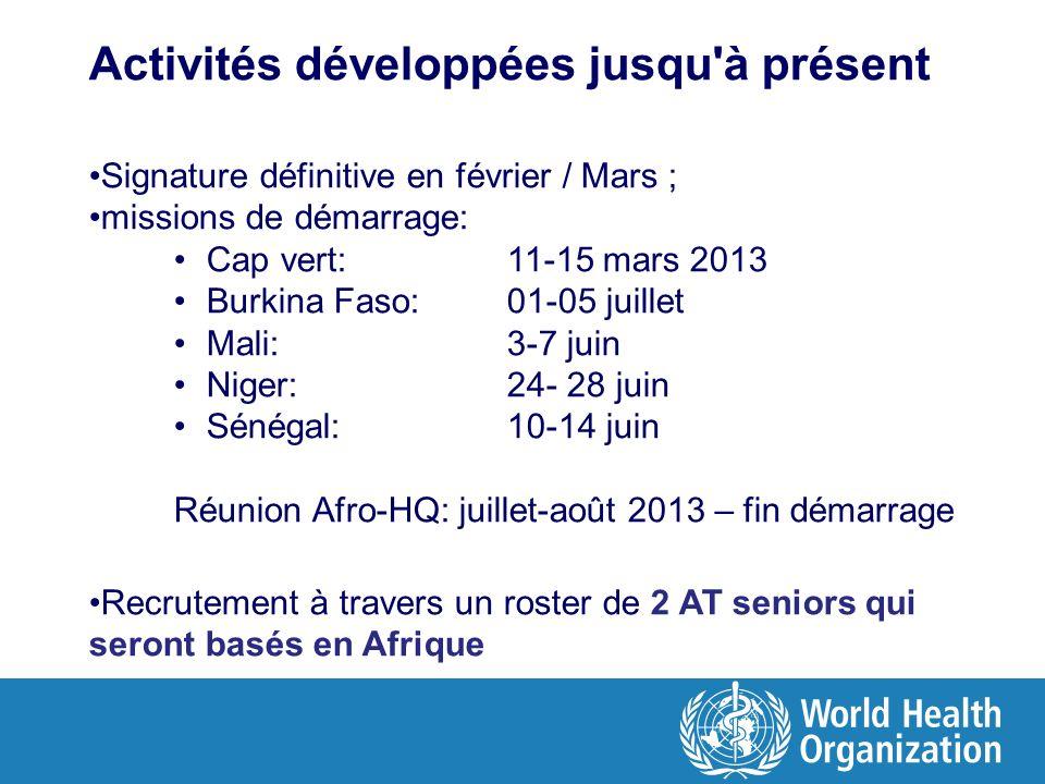 Activités développées jusqu'à présent Signature définitive en février / Mars ; missions de démarrage: Cap vert: 11-15 mars 2013 Burkina Faso: 01-05 ju