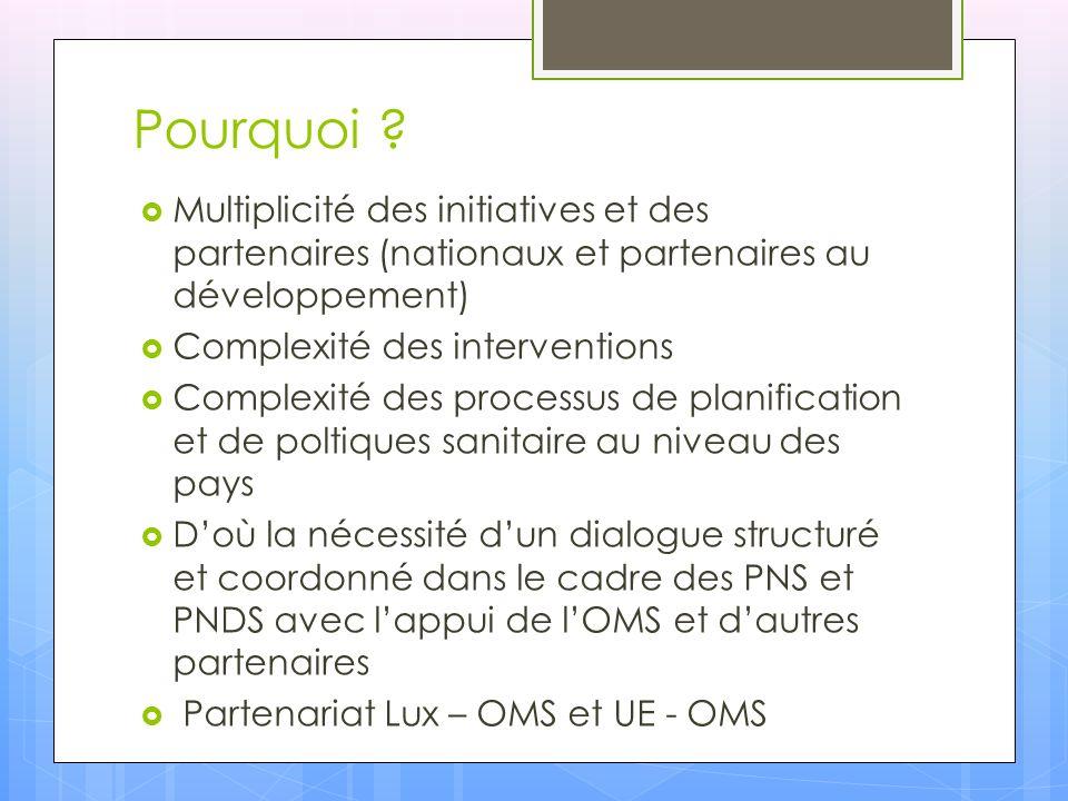 Pourquoi ? Multiplicité des initiatives et des partenaires (nationaux et partenaires au développement) Complexité des interventions Complexité des pro