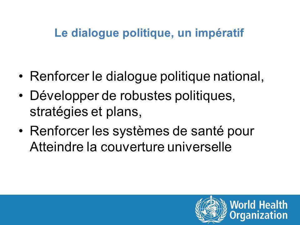Le dialogue politique, un impératif Renforcer le dialogue politique national, Développer de robustes politiques, stratégies et plans, Renforcer les sy