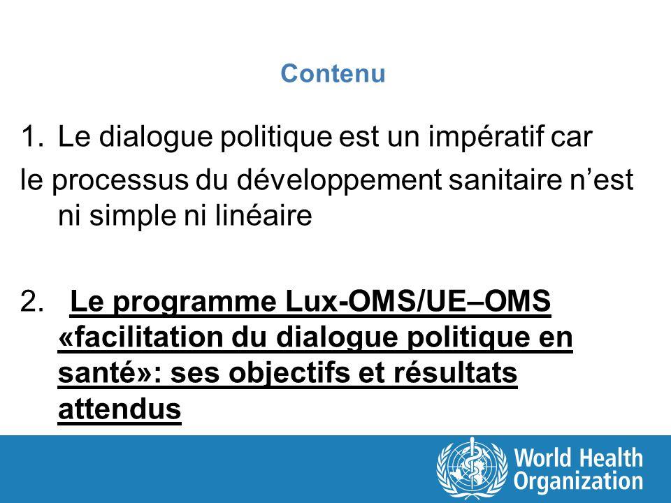 Contenu 1.Le dialogue politique est un impératif car le processus du développement sanitaire nest ni simple ni linéaire 2. Le programme Lux-OMS/UE–OMS