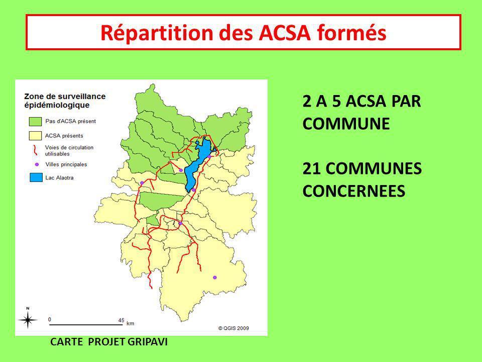 CARTE PROJET GRIPAVI Répartition des ACSA formés 2 A 5 ACSA PAR COMMUNE 21 COMMUNES CONCERNEES