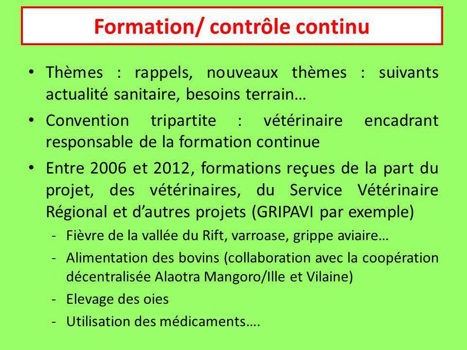 Formation continue Thèmes : rappels, nouveaux thèmes : suivants actualité sanitaire, besoins terrain… Convention tripartite : vétérinaire encadrant re