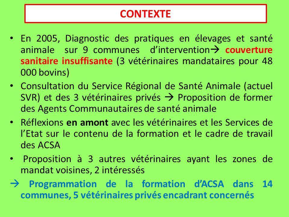 CONTEXTE En 2005, Diagnostic des pratiques en élevages et santé animale sur 9 communes dintervention couverture sanitaire insuffisante (3 vétérinaires mandataires pour 48 000 bovins) Consultation du Service Régional de Santé Animale (actuel SVR) et des 3 vétérinaires privés Proposition de former des Agents Communautaires de santé animale Réflexions en amont avec les vétérinaires et les Services de lEtat sur le contenu de la formation et le cadre de travail des ACSA Proposition à 3 autres vétérinaires ayant les zones de mandat voisines, 2 intéressés Programmation de la formation dACSA dans 14 communes, 5 vétérinaires privés encadrant concernés