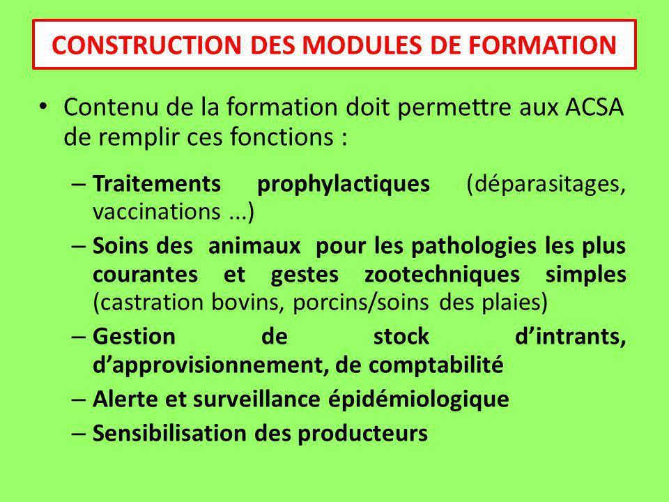 Contenu de la formation doit permettre aux ACSA de remplir ces fonctions : – Traitements prophylactiques (déparasitages, vaccinations...) – Soins des