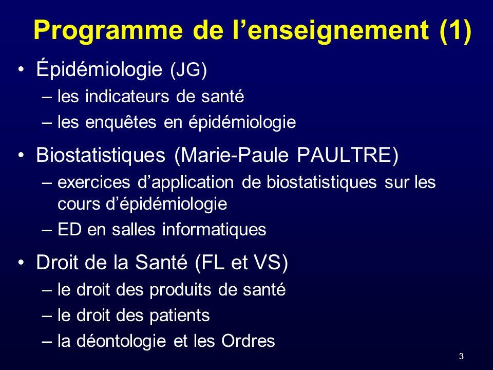 3 Programme de lenseignement (1) Épidémiologie (JG) –les indicateurs de santé –les enquêtes en épidémiologie Biostatistiques (Marie-Paule PAULTRE) –ex