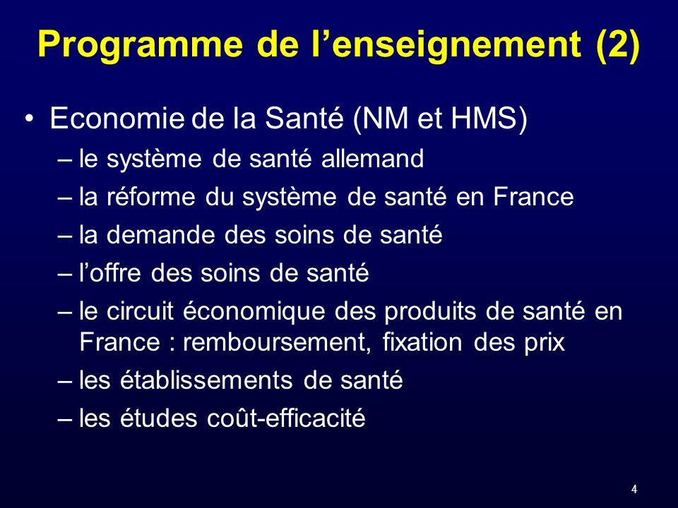 4 Programme de lenseignement (2) Economie de la Santé (NM et HMS) –le système de santé allemand –la réforme du système de santé en France –la demande