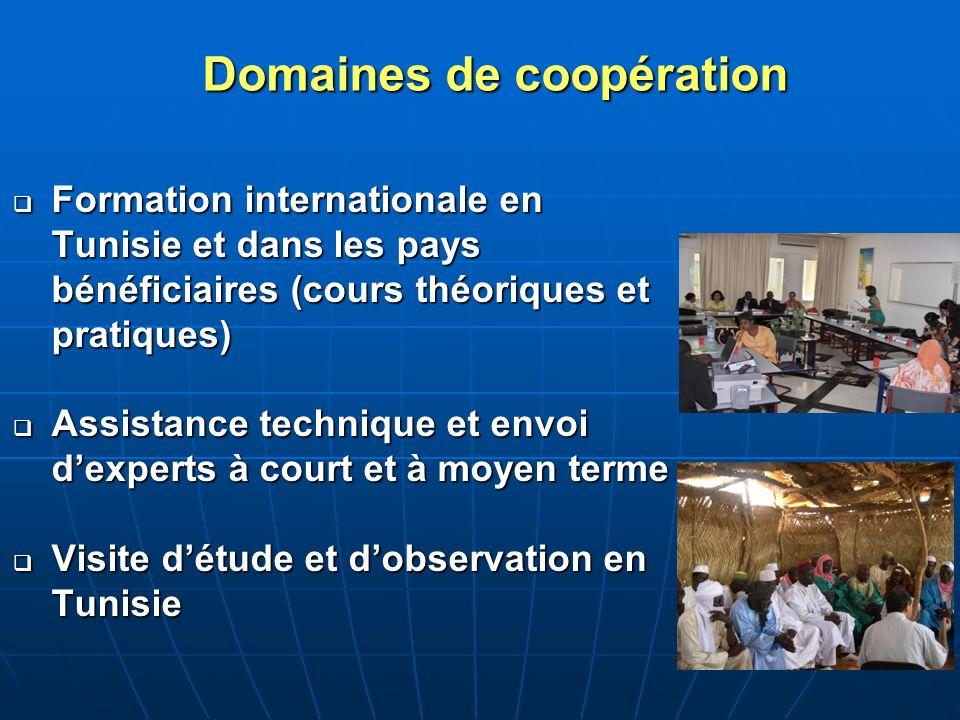 Domaines de coopération Formation internationale en Tunisie et dans les pays bénéficiaires (cours théoriques et pratiques) Formation internationale en