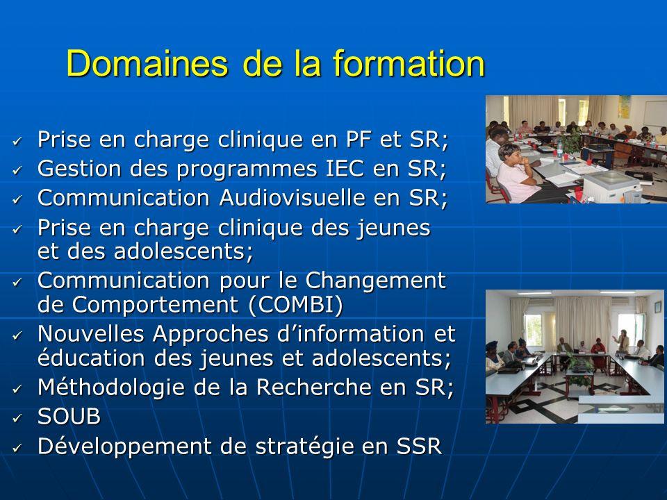 Domaines de la formation Prise en charge clinique en PF et SR; Prise en charge clinique en PF et SR; Gestion des programmes IEC en SR; Gestion des pro