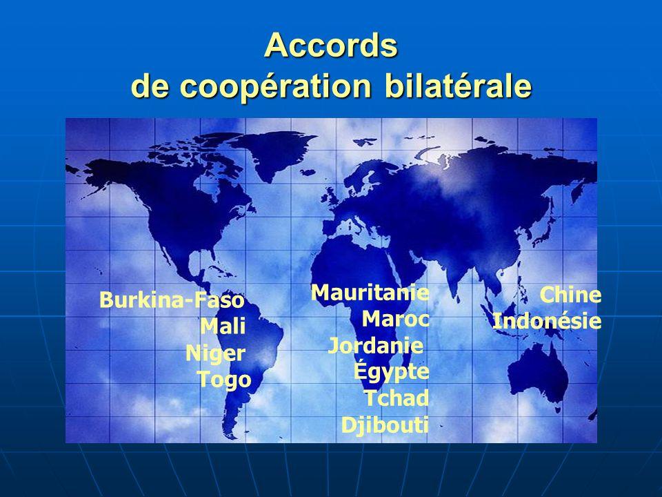 Accords de coopération bilatérale Burkina-Faso Mali Niger Togo Mauritanie Maroc Jordanie É gypte Tchad Djibouti Chine Indonésie