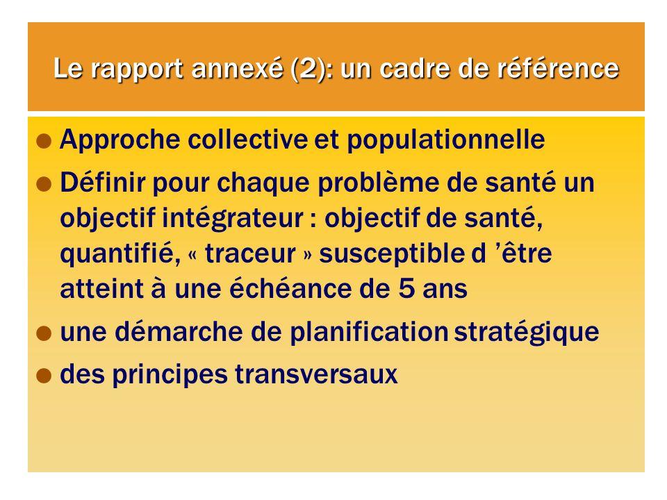 Le rapport annexé (2): un cadre de référence Approche collective et populationnelle Définir pour chaque problème de santé un objectif intégrateur : objectif de santé, quantifié, « traceur » susceptible d être atteint à une échéance de 5 ans une démarche de planification stratégique des principes transversaux
