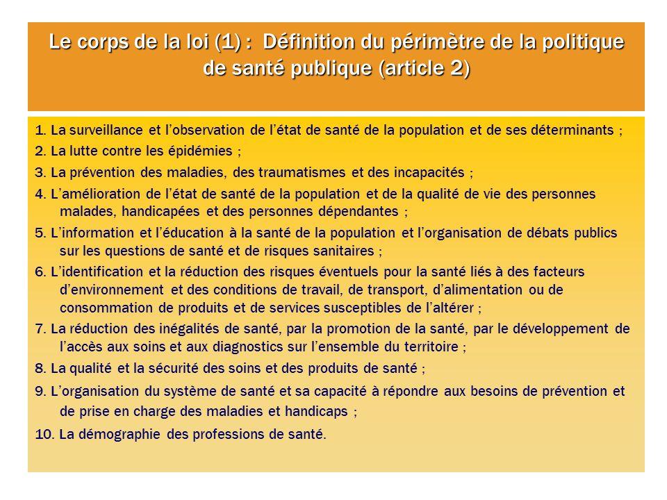Le corps de la loi (1) : Définition du périmètre de la politique de santé publique (article 2) 1. La surveillance et lobservation de létat de santé de