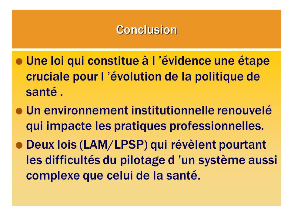 Conclusion Une loi qui constitue à l évidence une étape cruciale pour l évolution de la politique de santé. Un environnement institutionnelle renouvel