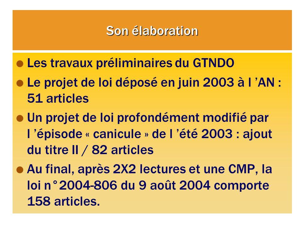 Son élaboration Les travaux préliminaires du GTNDO Le projet de loi déposé en juin 2003 à l AN : 51 articles Un projet de loi profondément modifié par l épisode « canicule » de l été 2003 : ajout du titre II / 82 articles Au final, après 2X2 lectures et une CMP, la loi n°2004-806 du 9 août 2004 comporte 158 articles.