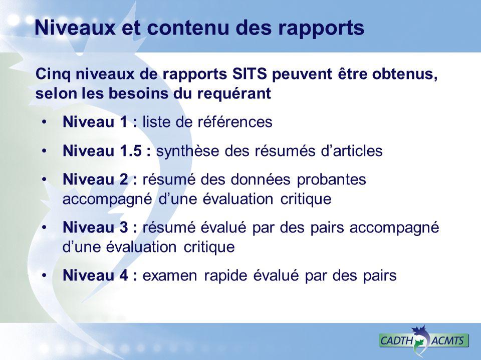 Niveaux et contenu des rapports Cinq niveaux de rapports SITS peuvent être obtenus, selon les besoins du requérant Niveau 1 : liste de références Niveau 1.5 : synthèse des résumés darticles Niveau 2 : résumé des données probantes accompagné dune évaluation critique Niveau 3 : résumé évalué par des pairs accompagné dune évaluation critique Niveau 4 : examen rapide évalué par des pairs