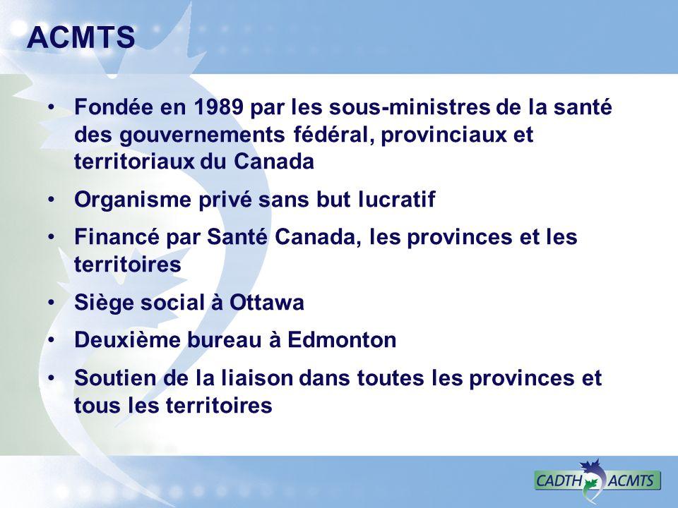 ACMTS Fondée en 1989 par les sous-ministres de la santé des gouvernements fédéral, provinciaux et territoriaux du Canada Organisme privé sans but lucratif Financé par Santé Canada, les provinces et les territoires Siège social à Ottawa Deuxième bureau à Edmonton Soutien de la liaison dans toutes les provinces et tous les territoires