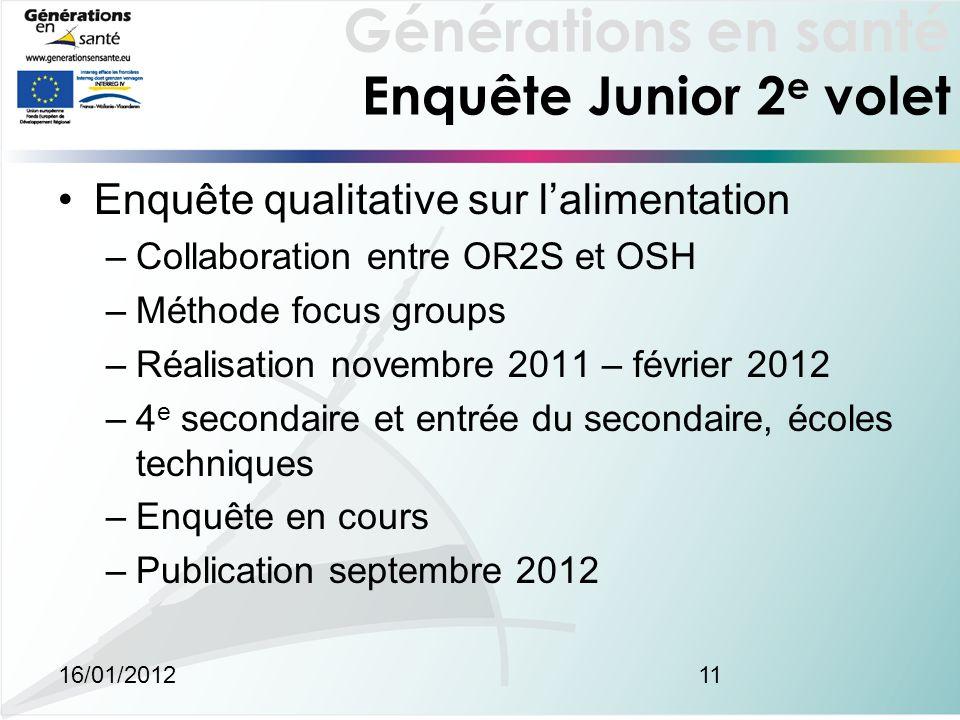 Générations en santé 16/01/201211 Enquête Junior 2 e volet Enquête qualitative sur lalimentation –Collaboration entre OR2S et OSH –Méthode focus group