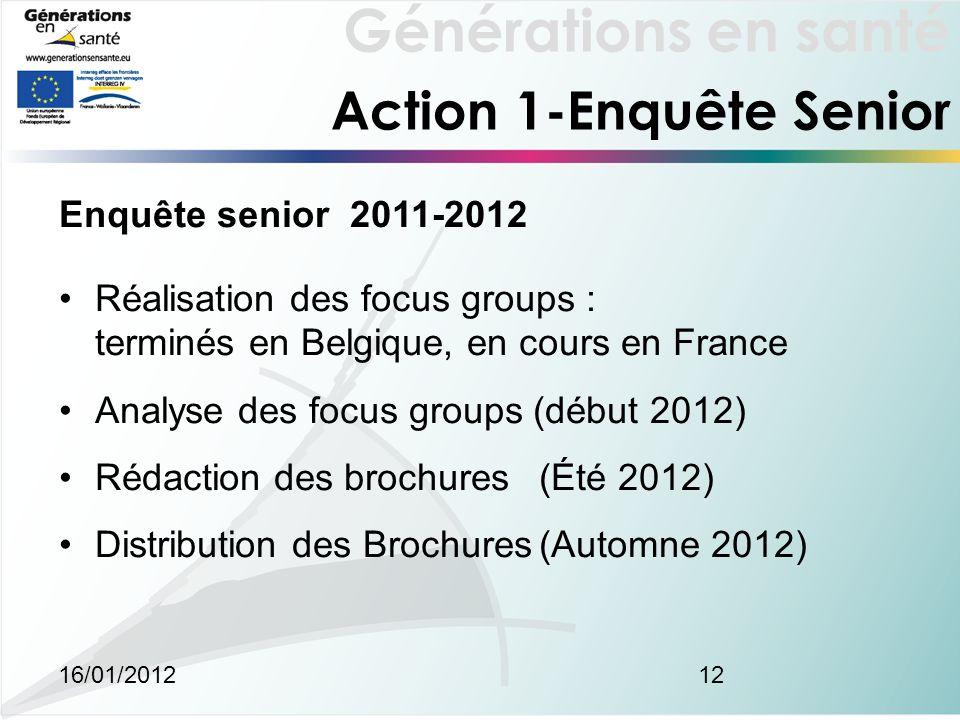 Générations en santé 16/01/201212 Action 1-Enquête Senior Enquête senior 2011-2012 Réalisation des focus groups : terminés en Belgique, en cours en Fr
