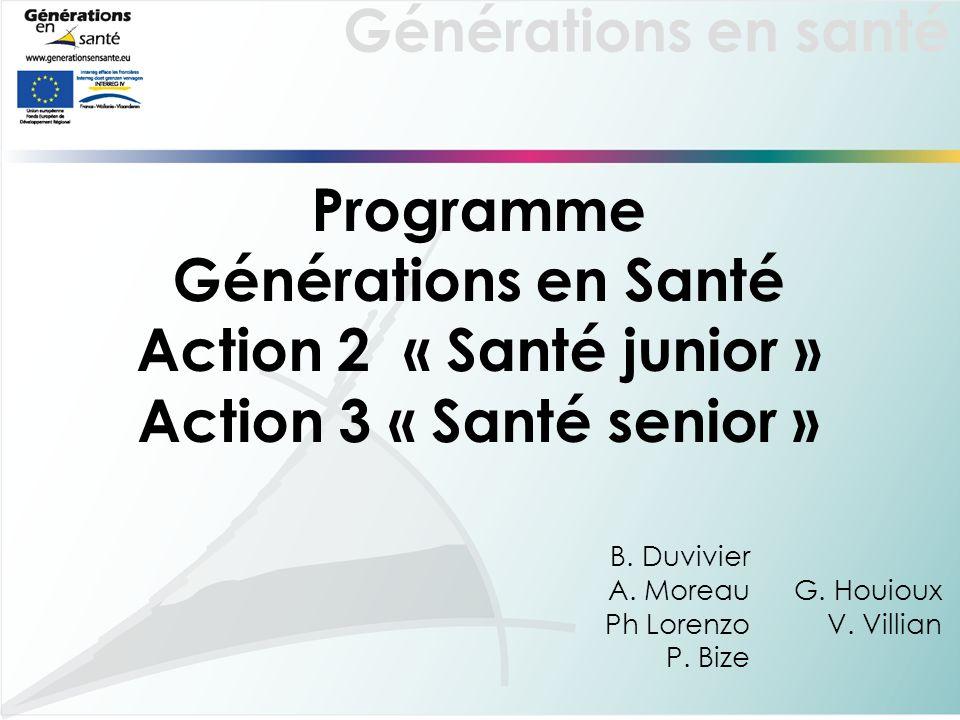 Générations en santé Programme Générations en Santé Action 2 « Santé junior » Action 3 « Santé senior » B. Duvivier A. Moreau Ph Lorenzo P. Bize G. Ho