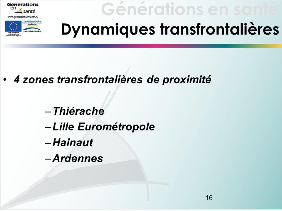 Générations en santé 16 Dynamiques transfrontalières 4 zones transfrontalières de proximité –Thiérache –Lille Eurométropole –Hainaut –Ardennes