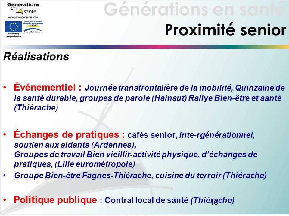 Générations en santé 18 Proximité senior Réalisations Événementiel : Journée transfrontalière de la mobilité, Quinzaine de la santé durable, groupes d