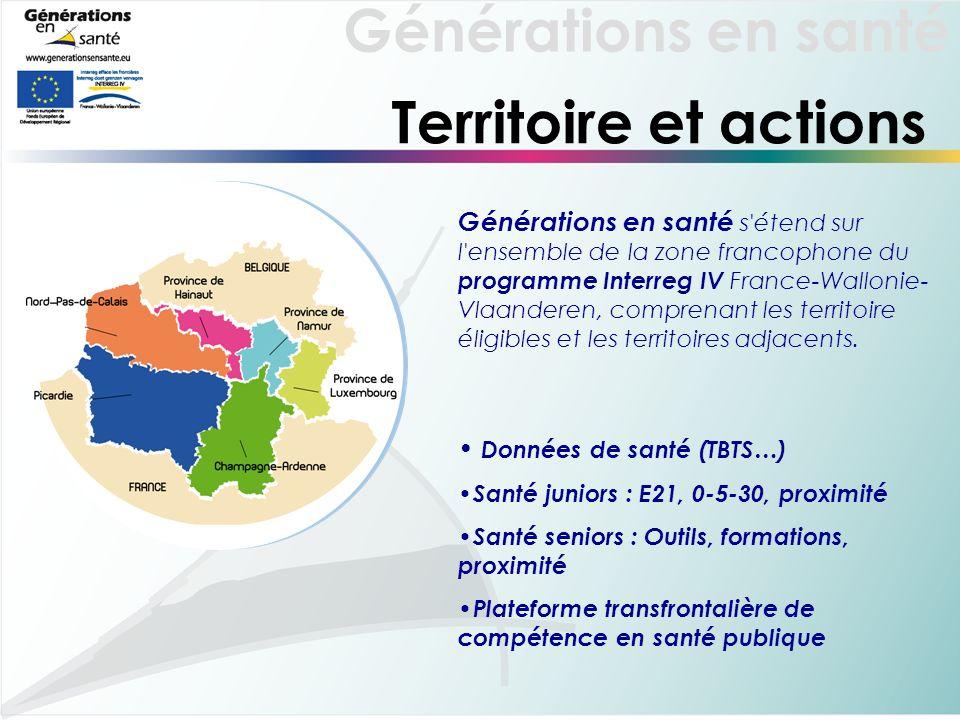 Générations en santé Territoire et actions Générations en santé s étend sur l ensemble de la zone francophone du programme Interreg IV France-Wallonie- Vlaanderen, comprenant les territoire éligibles et les territoires adjacents.