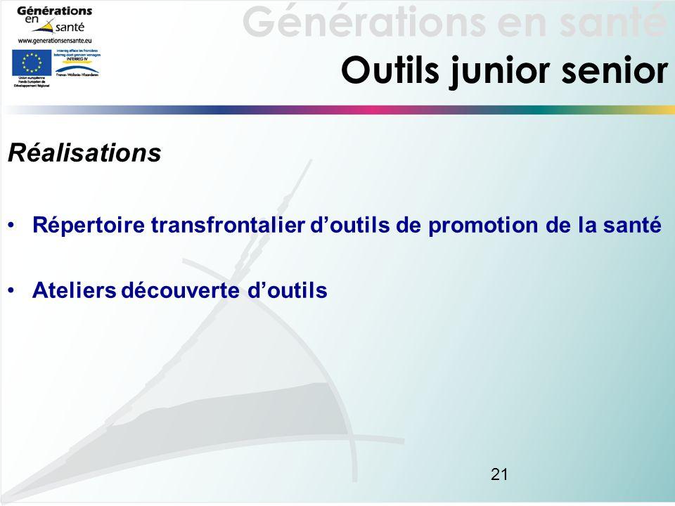 Générations en santé 21 Outils junior senior Réalisations Répertoire transfrontalier doutils de promotion de la santé Ateliers découverte doutils