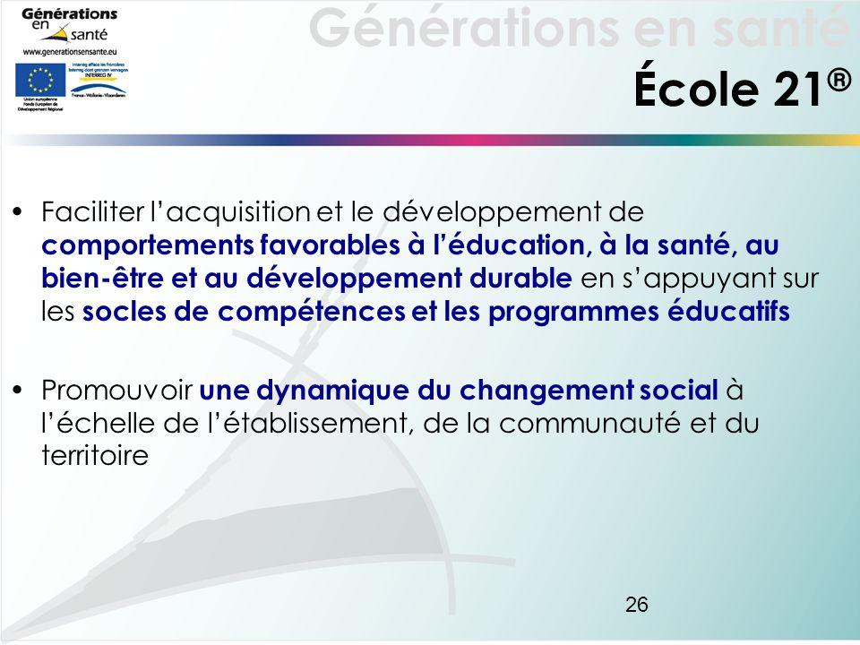 Générations en santé 26 Faciliter lacquisition et le développement de comportements favorables à léducation, à la santé, au bien-être et au développem