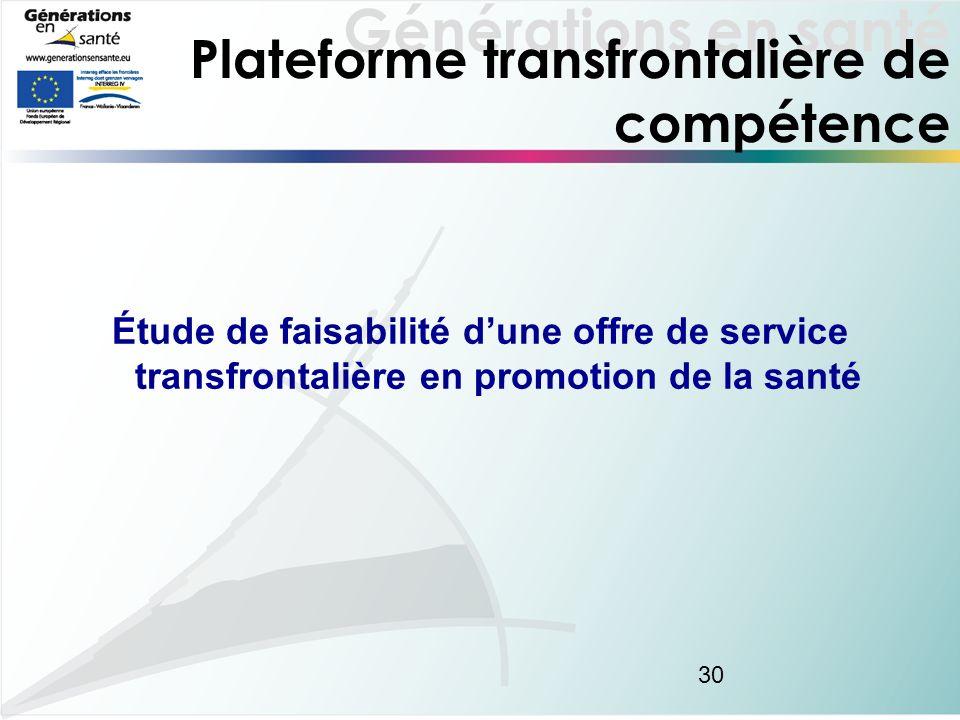 Générations en santé 30 Plateforme transfrontalière de compétence Étude de faisabilité dune offre de service transfrontalière en promotion de la santé