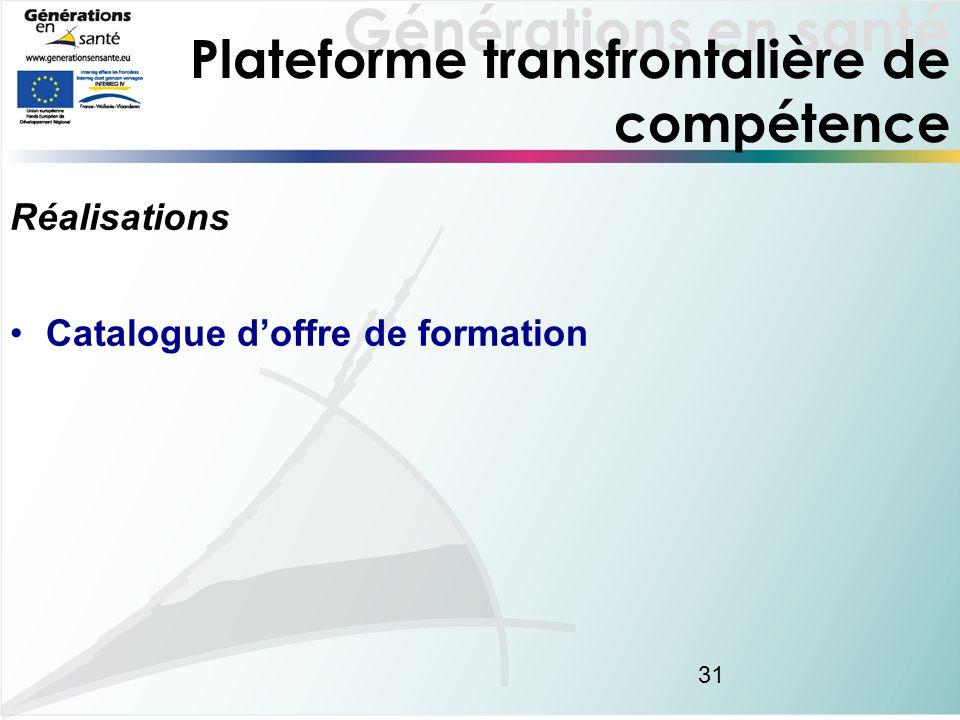Générations en santé 31 Plateforme transfrontalière de compétence Réalisations Catalogue doffre de formation