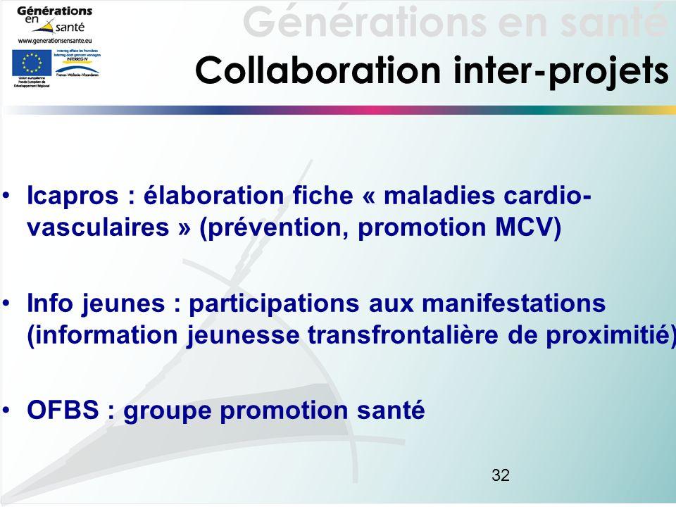 Générations en santé 32 Collaboration inter-projets Icapros : élaboration fiche « maladies cardio- vasculaires » (prévention, promotion MCV) Info jeunes : participations aux manifestations (information jeunesse transfrontalière de proximitié) OFBS : groupe promotion santé