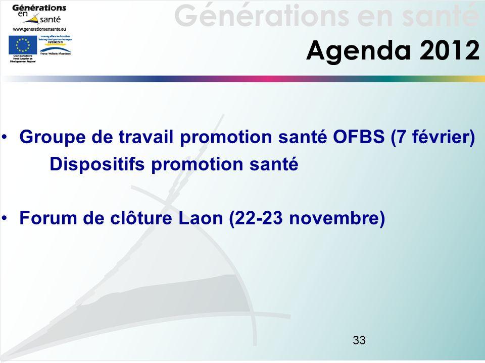 Générations en santé 33 Agenda 2012 Groupe de travail promotion santé OFBS (7 février) Dispositifs promotion santé Forum de clôture Laon (22-23 novembre)