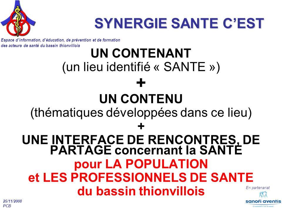 Espace dinformation, déducation, de prévention et de formation des acteurs de santé du bassin thionvillois En partenariat 25/11/2008 PCB UN CONTENANT