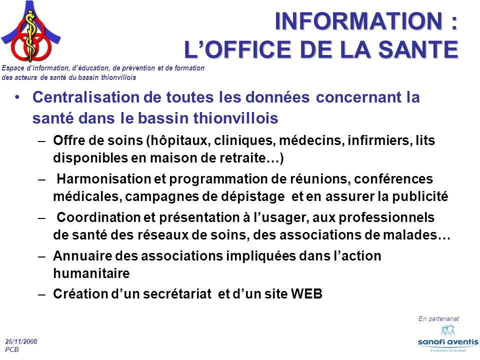 Espace dinformation, déducation, de prévention et de formation des acteurs de santé du bassin thionvillois En partenariat 25/11/2008 PCB INFORMATION :