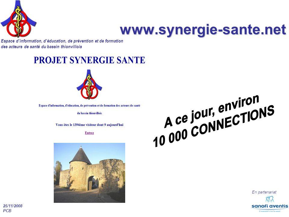 Espace dinformation, déducation, de prévention et de formation des acteurs de santé du bassin thionvillois En partenariat 25/11/2008 PCB www.synergie-