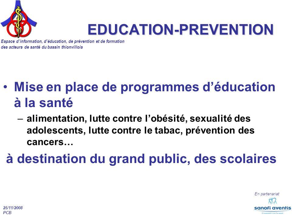 Espace dinformation, déducation, de prévention et de formation des acteurs de santé du bassin thionvillois En partenariat 25/11/2008 PCB EDUCATION-PRE