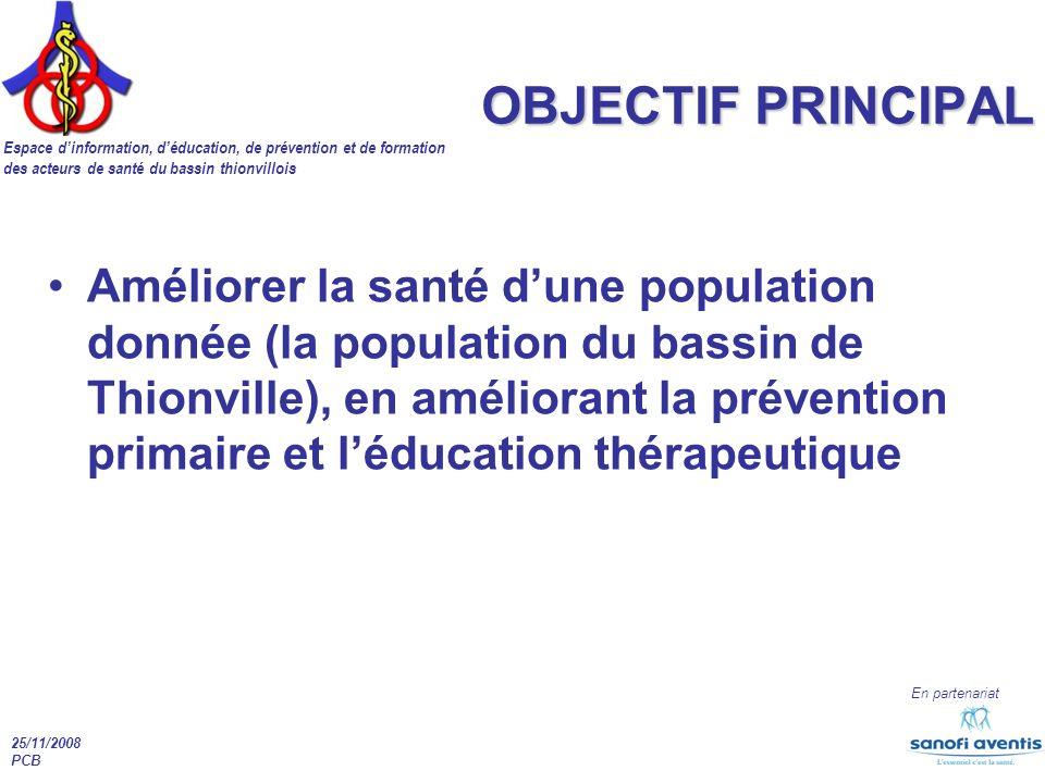 Espace dinformation, déducation, de prévention et de formation des acteurs de santé du bassin thionvillois En partenariat 25/11/2008 PCB OBJECTIF PRIN