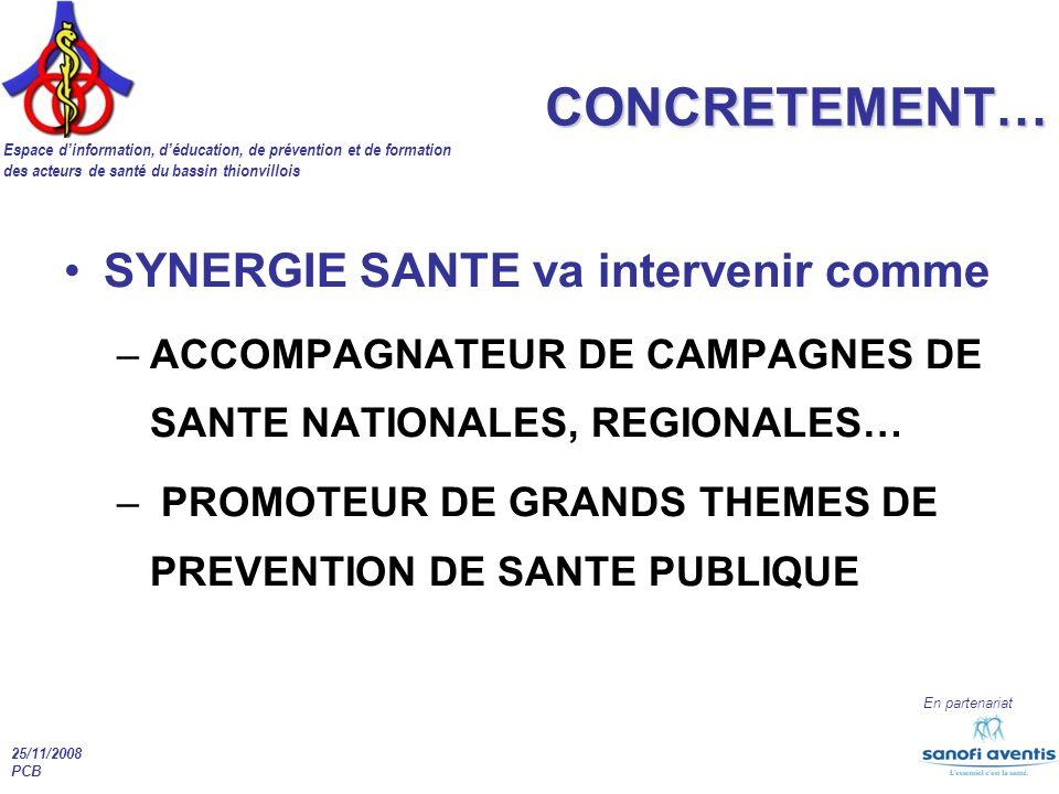 Espace dinformation, déducation, de prévention et de formation des acteurs de santé du bassin thionvillois En partenariat 25/11/2008 PCB CONCRETEMENT…