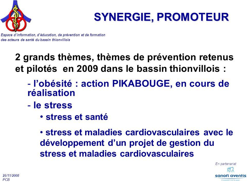 Espace dinformation, déducation, de prévention et de formation des acteurs de santé du bassin thionvillois En partenariat 25/11/2008 PCB SYNERGIE, PRO