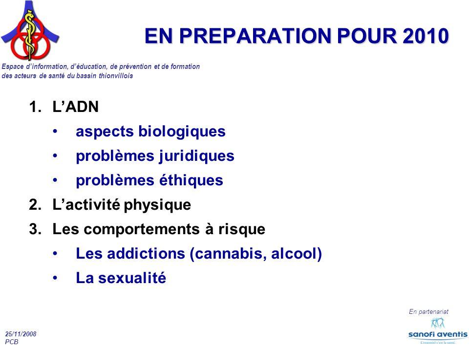 Espace dinformation, déducation, de prévention et de formation des acteurs de santé du bassin thionvillois En partenariat 25/11/2008 PCB EN PREPARATIO