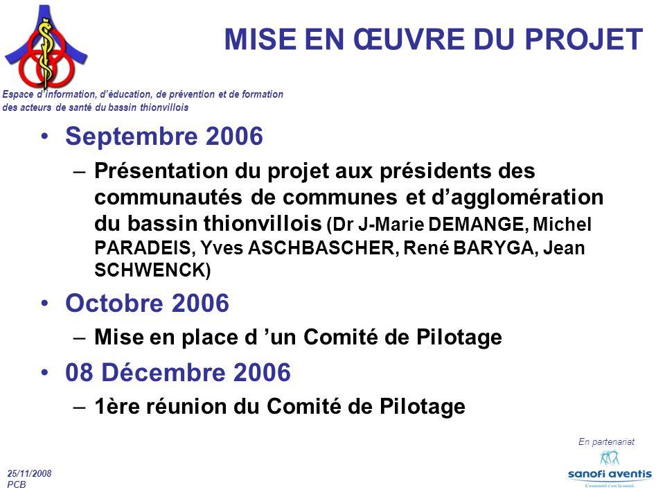 25/11/2008 PCB En partenariat MISE EN ŒUVRE DU PROJET Espace dinformation, déducation, de prévention et de formation des acteurs de santé du bassin th