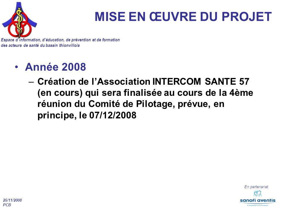 25/11/2008 PCB En partenariat MISE EN ŒUVRE DU PROJET Espace dinformation, déducation, de prévention et de formation des acteurs de santé du bassin thionvillois Année 2008 –Création de lAssociation INTERCOM SANTE 57 (en cours) qui sera finalisée au cours de la 4ème réunion du Comité de Pilotage, prévue, en principe, le 07/12/2008