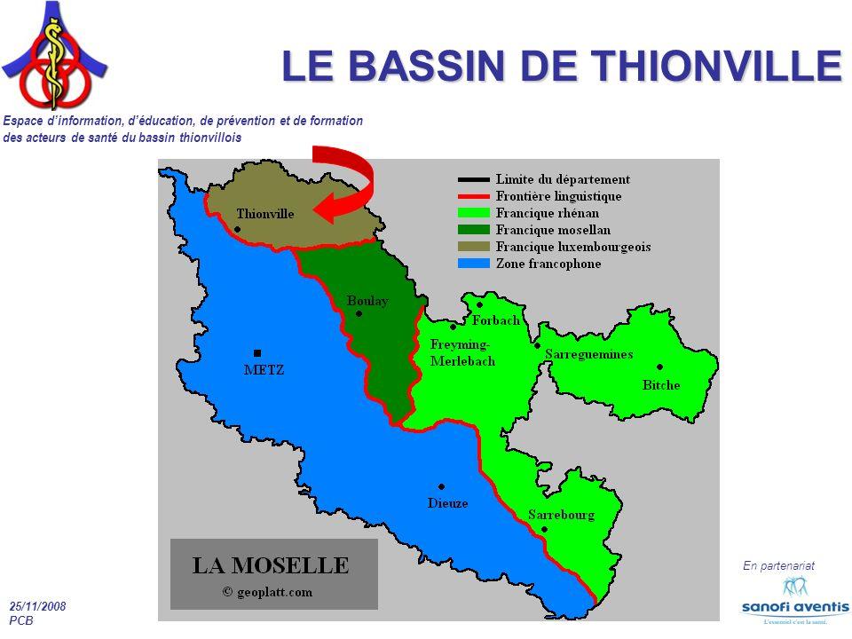 Espace dinformation, déducation, de prévention et de formation des acteurs de santé du bassin thionvillois En partenariat 25/11/2008 PCB LE BASSIN DE